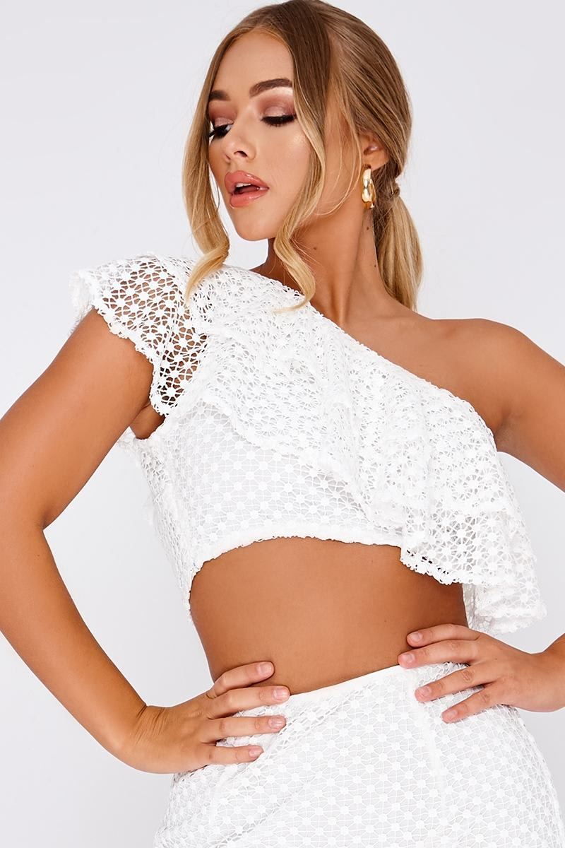 BILLIE FAIERS WHITE CROCHET ONE SHOULDER CROP TOP