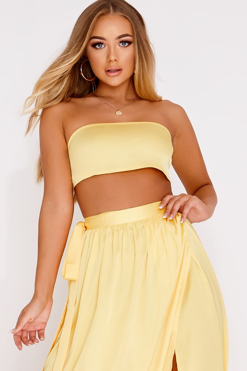 BILLIE FAIERS YELLOW SATIN BANDEAU CROP TOP