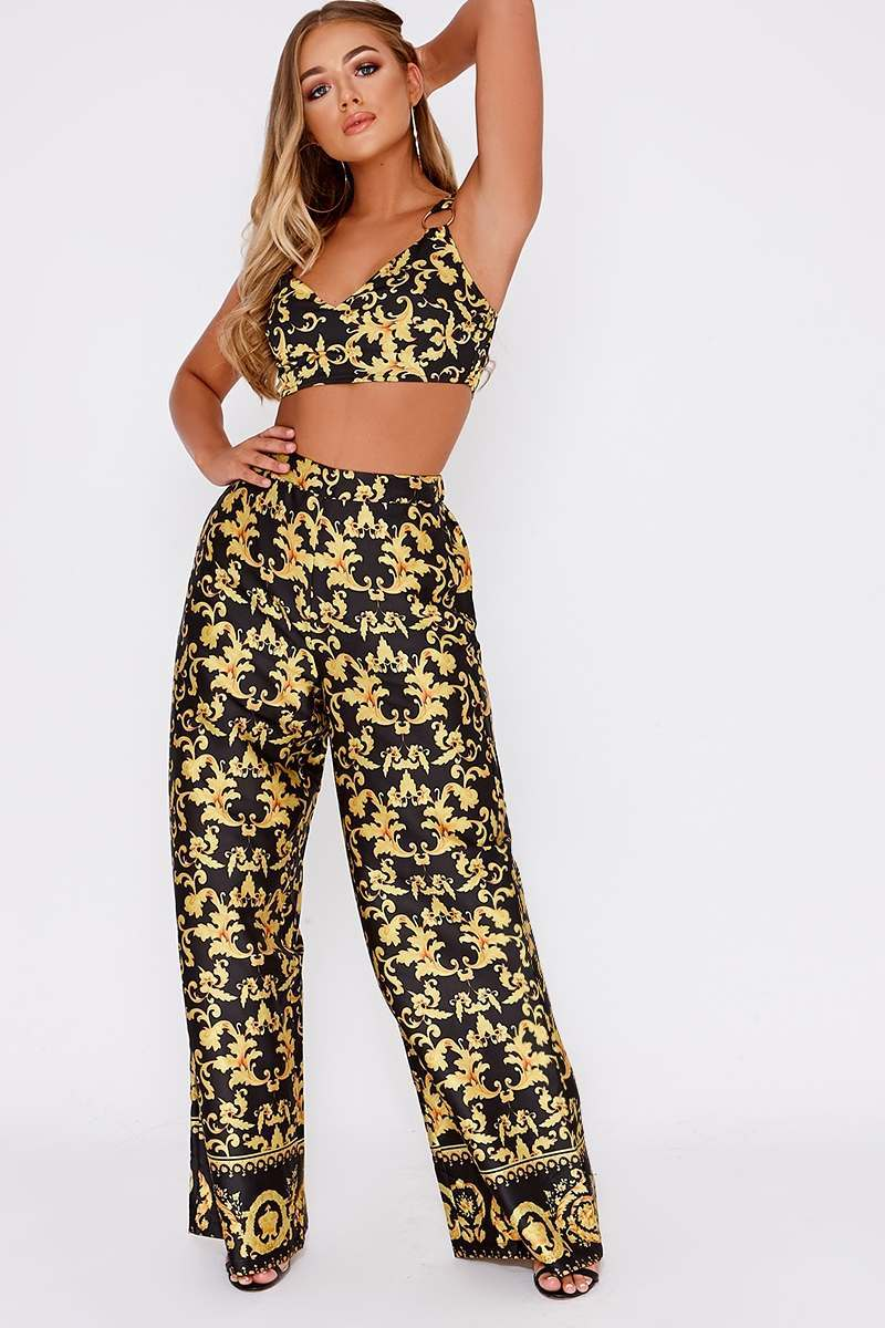 BILLIE FAIERS BLACK BAROQUE PRINT PALAZZO TROUSERS