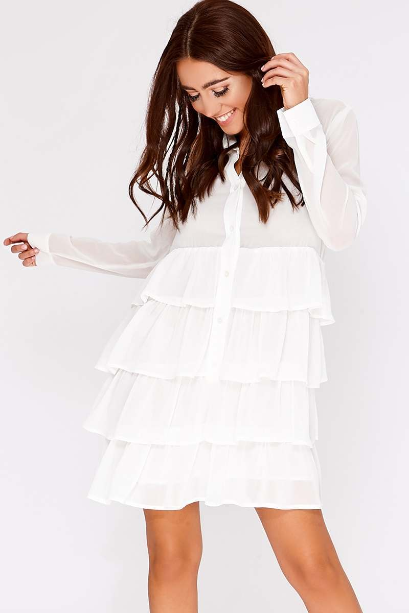 BINKY WHITE CHIFFON TIERED FRILL SHIRT DRESS
