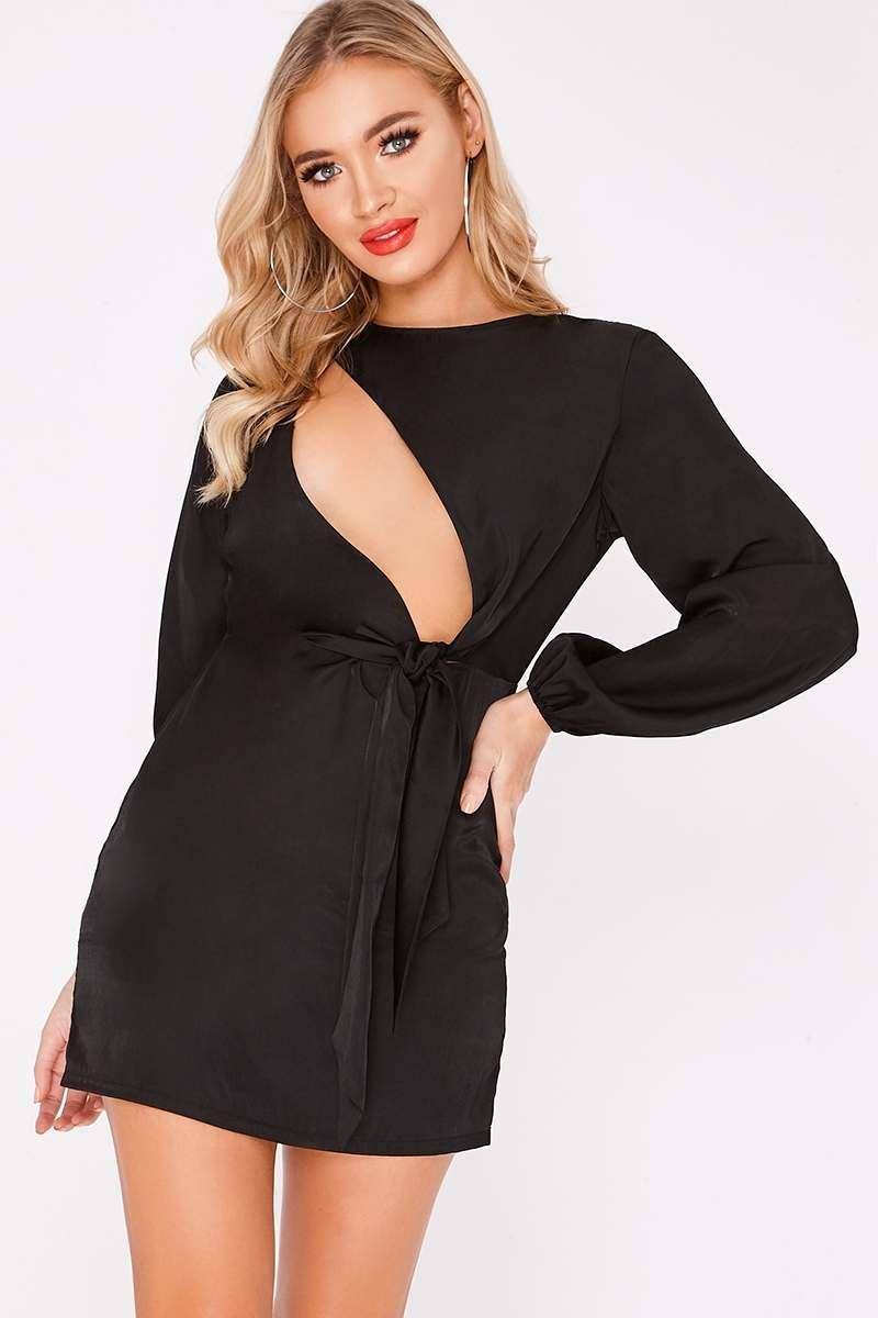 BINKY BLACK ASYMMETRIC SLASH PLUNGE TIE FRONT DRESS