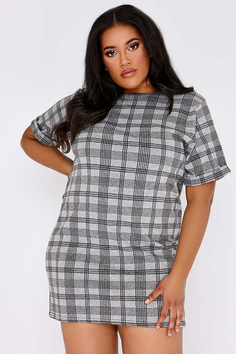 CURVE LISSA GREY CHECKED T SHIRT DRESS