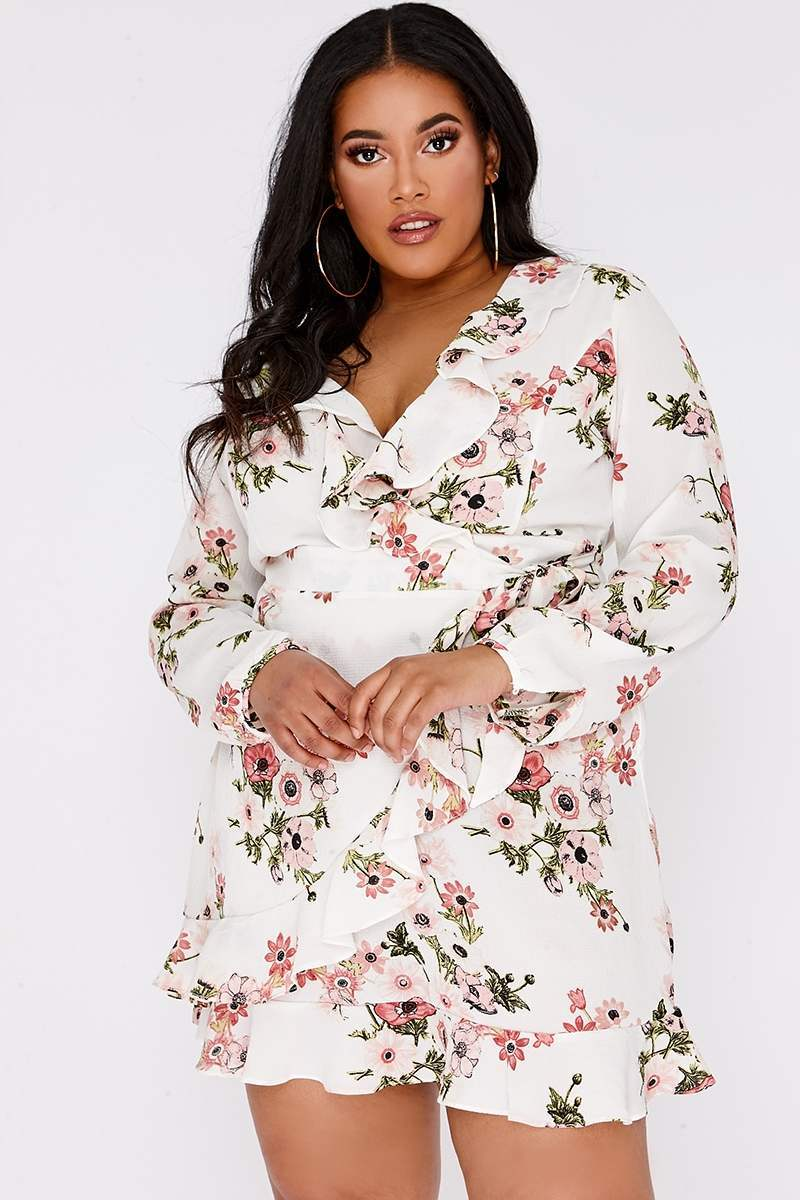CURVE AIRIES CREAM FLORAL FRILL WRAP MINI DRESS