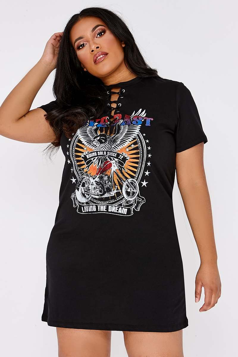 CURVE DILIAH BLACK LACE UP BAND PRINT T SHIRT DRESS