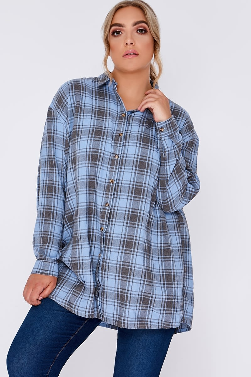 CURVE SARAH ASHCROFT BLUE CHECKED OVERSIZED SHIRT DRESS