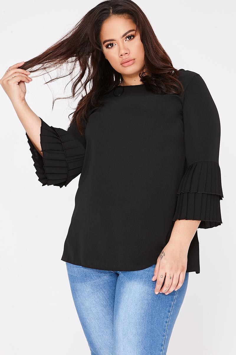 CURVE JADINA BLACK PLEATED FRILL SLEEVE TOP