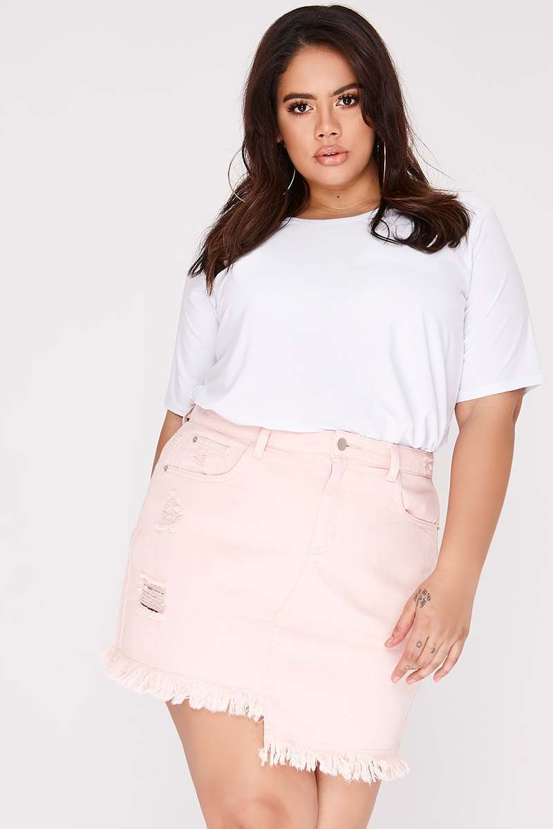 curve pink asymmetric hem denim skirt