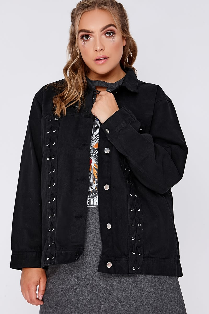CURVE HORIYA BLACK OVERSIZED LACE UP DENIM JACKET