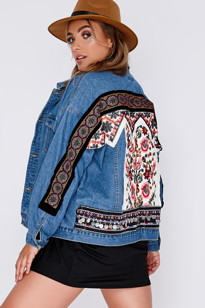 CURVE NADAV OVERSIZED EMBROIDERED BLUE DARK WASH DENIM JACKET