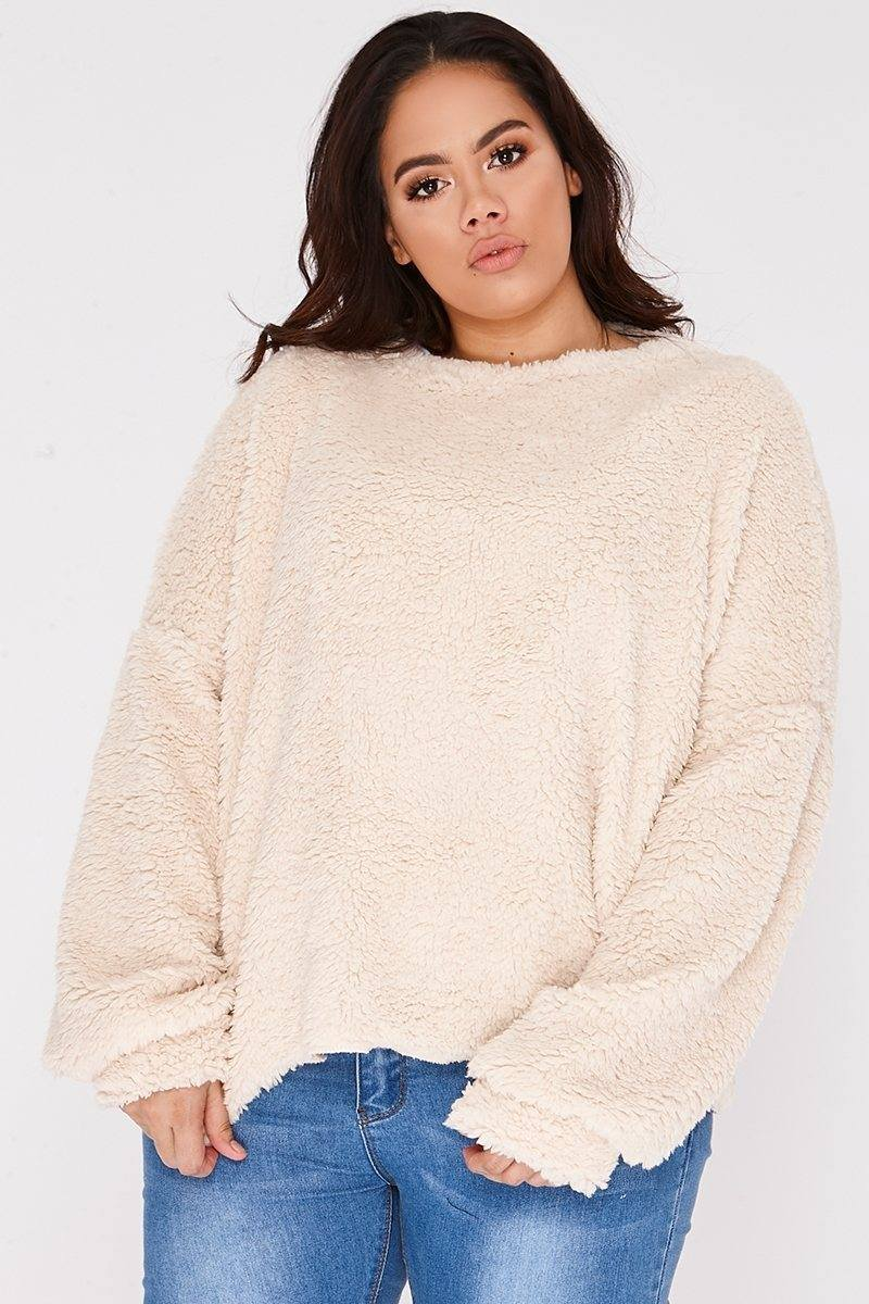 CURVE LAURIN CREAM TEDDY FUR JUMPER