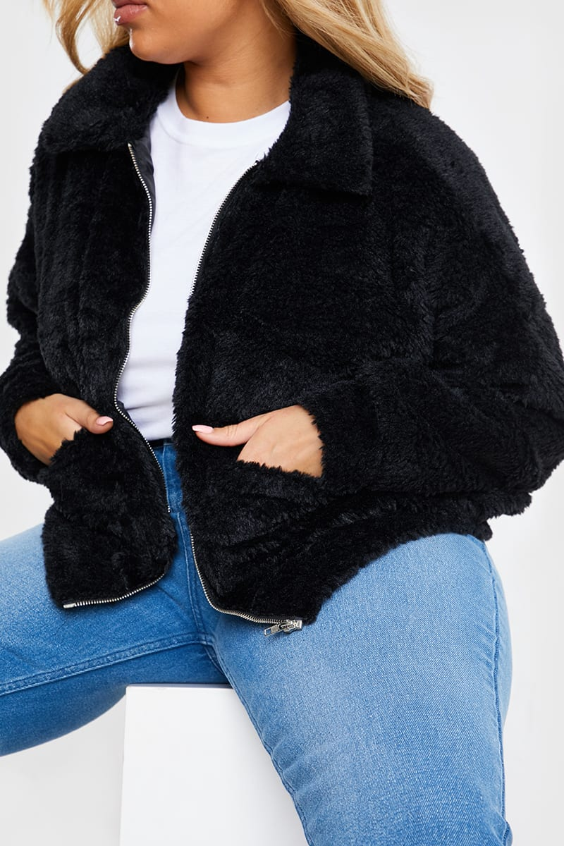 CURVE BLACK TEDDY FUR BOMBER JACKET