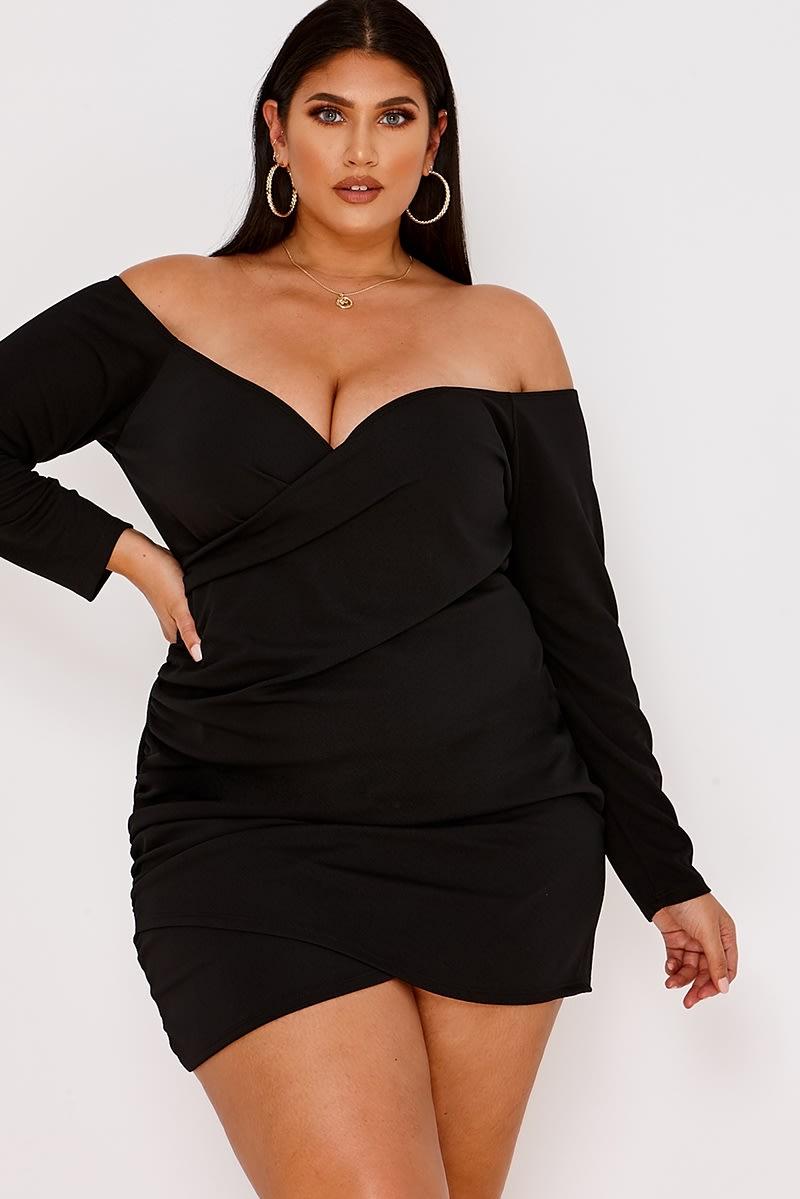 curve black wrap front bardot mini dress