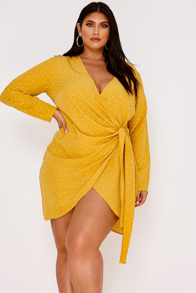 CURVE LATECIA MUSTARD POLKA DOT WRAP FRONT MINI DRESS