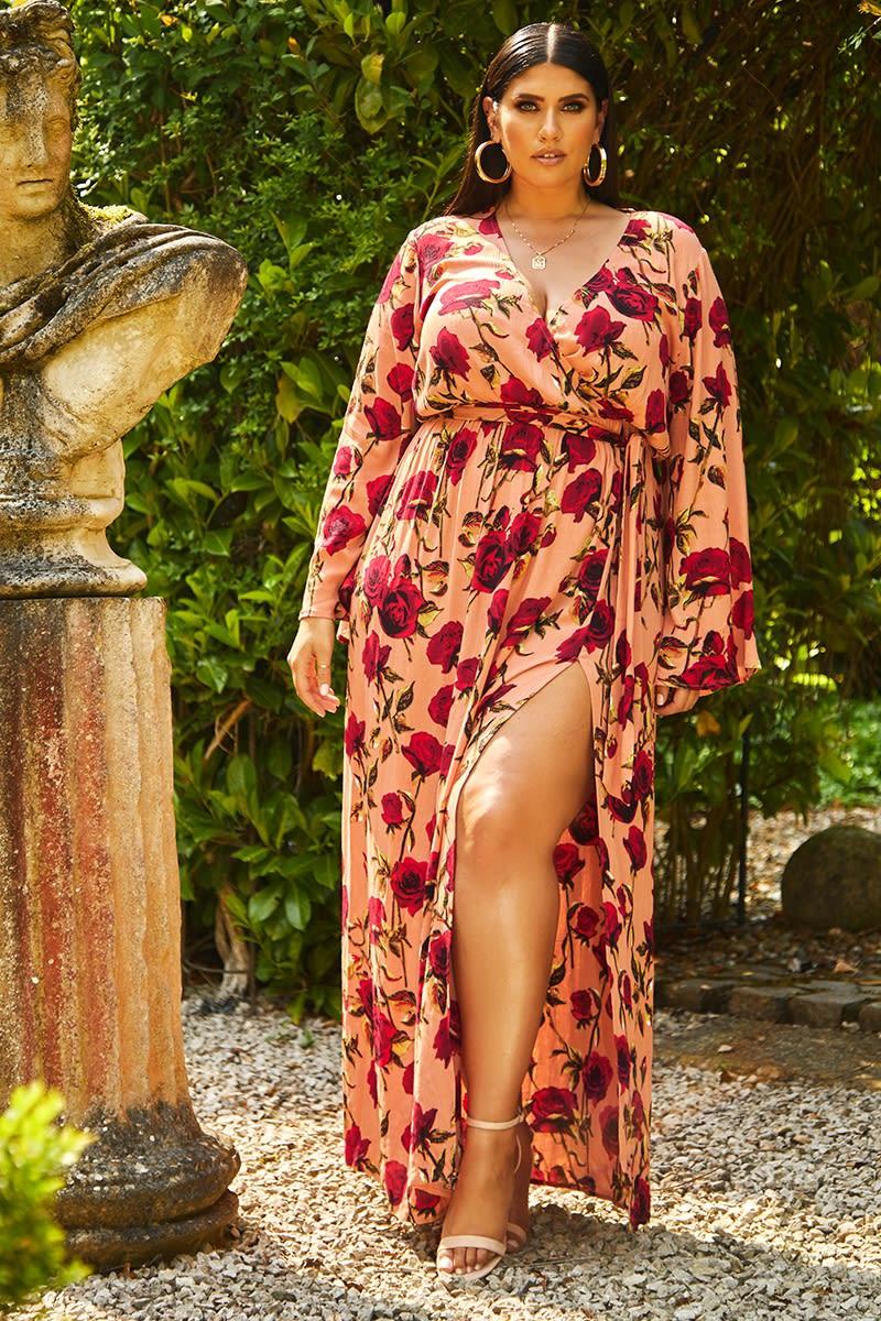 curve pink floral thigh split plunge maxi dress