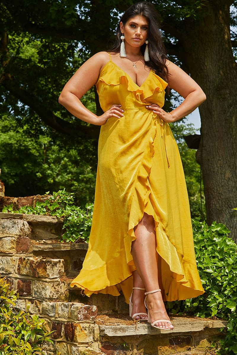 CURVE LATECIA MUSTARD SATIN WRAP FRILL MAXI DRESS