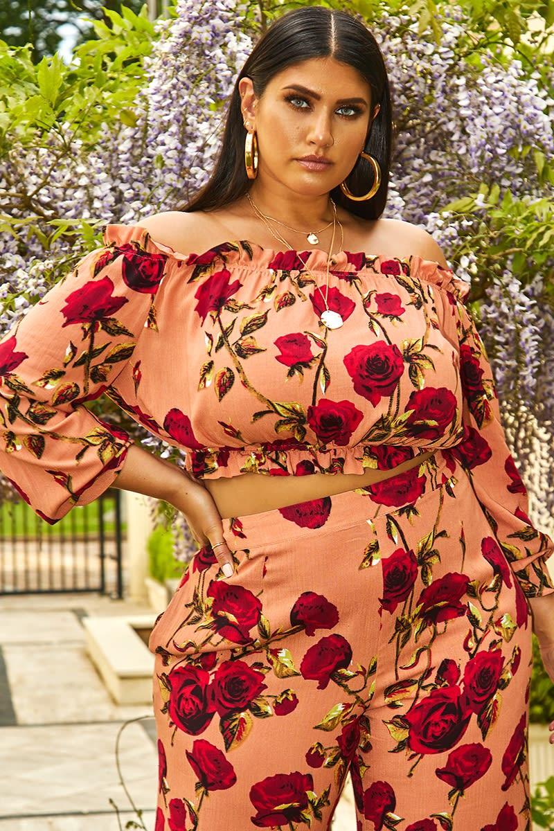 curve pink floral bardot crop top