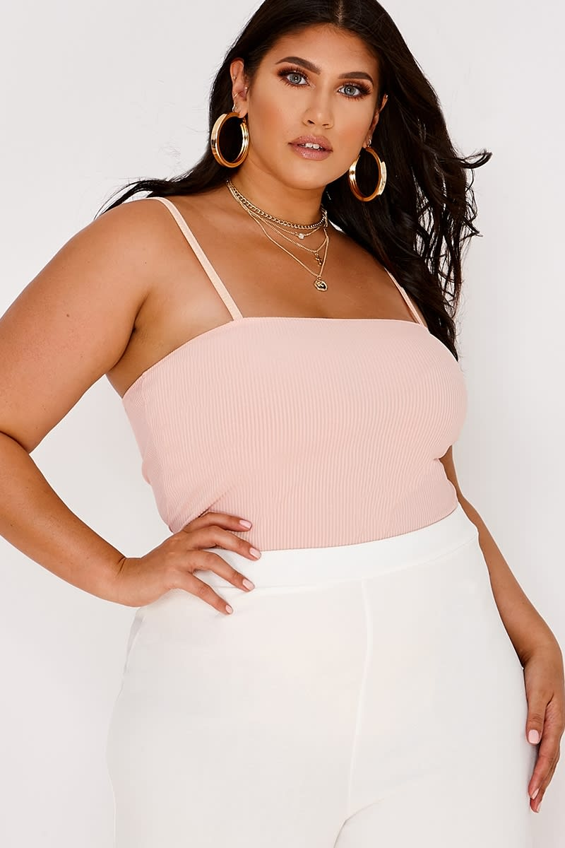 CURVE LATECIA BLUSH RIB SQUARE NECK BODYSUIT