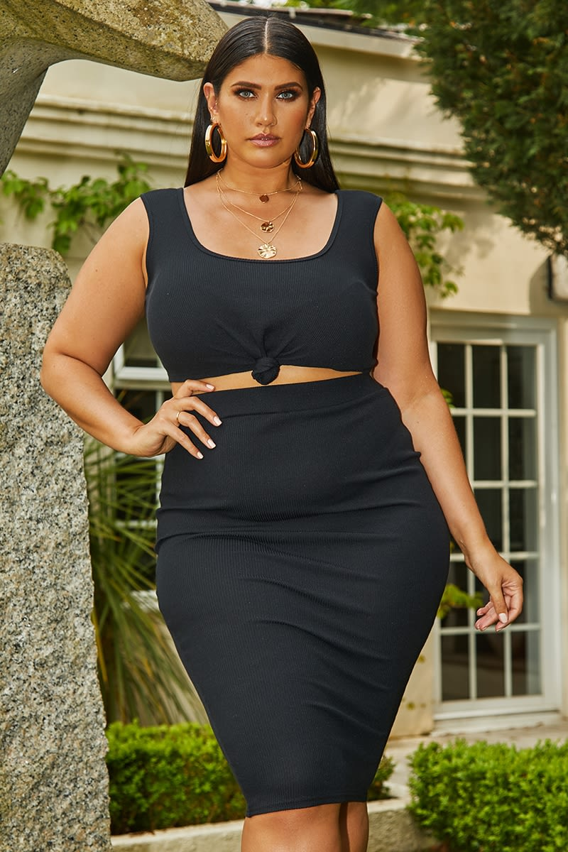 curve black ribbed high waisted skirt