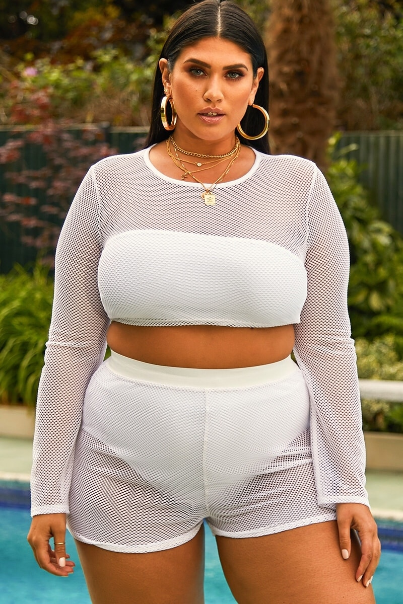 curve white fishnet beach shorts