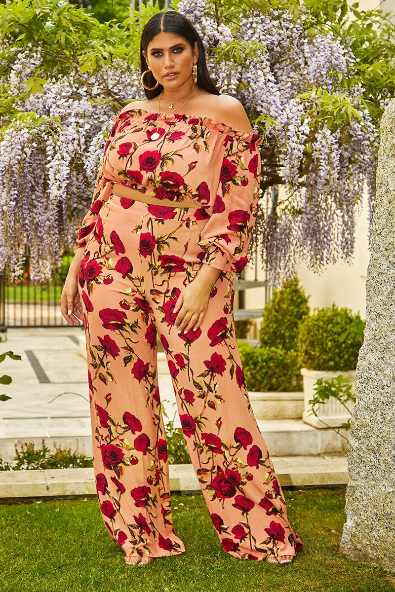 curve pink floral palazzo trousers