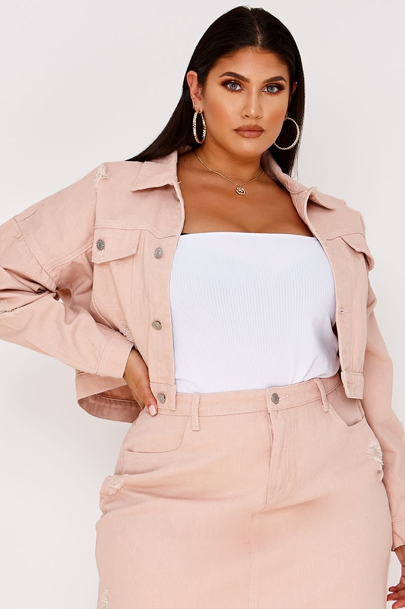 CURVE LATECIA PINK DISTRESSED CROPPED DENIM JACKET