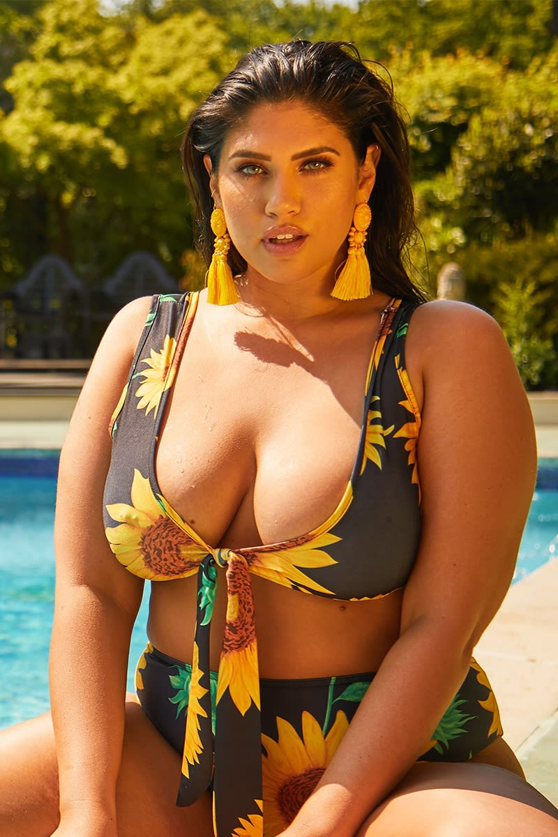 CURVE LATECIA SUNFLOWER TIE FRONT BIKINI TOP