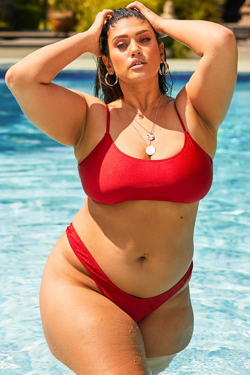 curve red scoop front bikini top