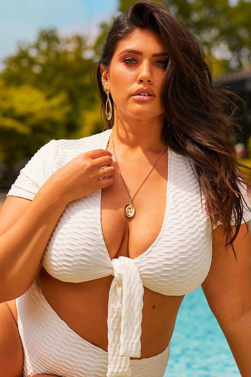 curve white textured tie front bikini top