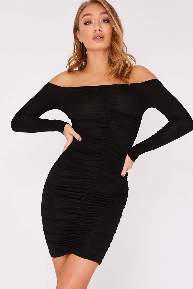 black ruched bardot mini dress