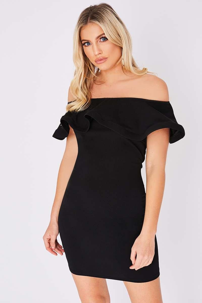 black bardot frill dress