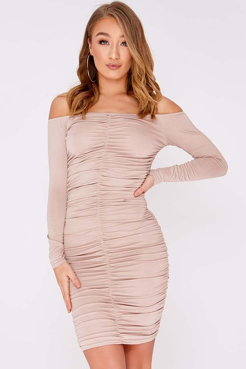 nude ruched bardot mini dress