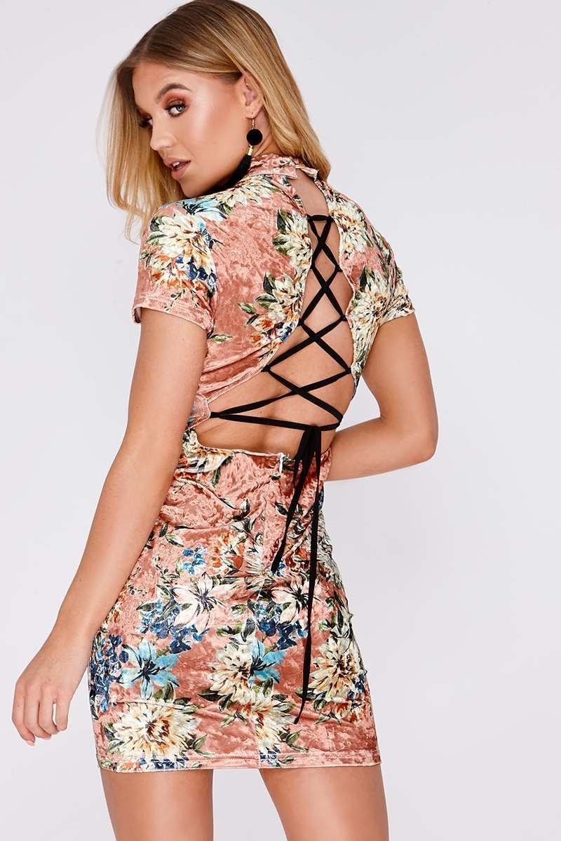 nude floral velvet lace up back mini dress