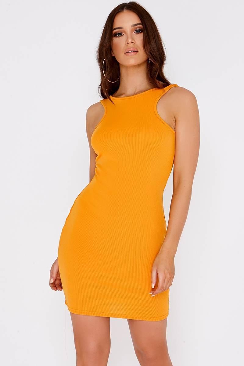 orange basic bodycon mini dress