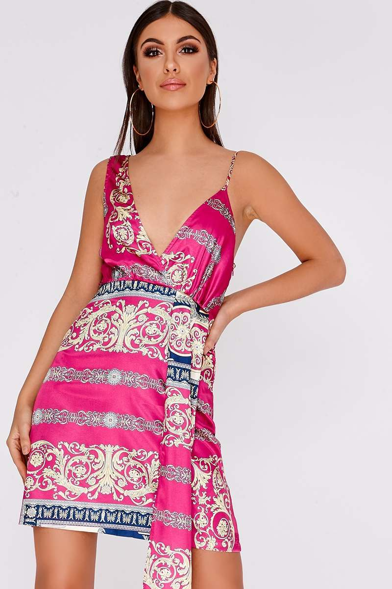 GRAE PINK PRINTED SATIN MINI DRESS
