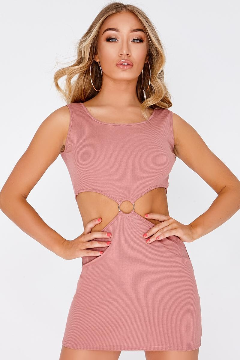 rose pink ring detail key hole mini dress