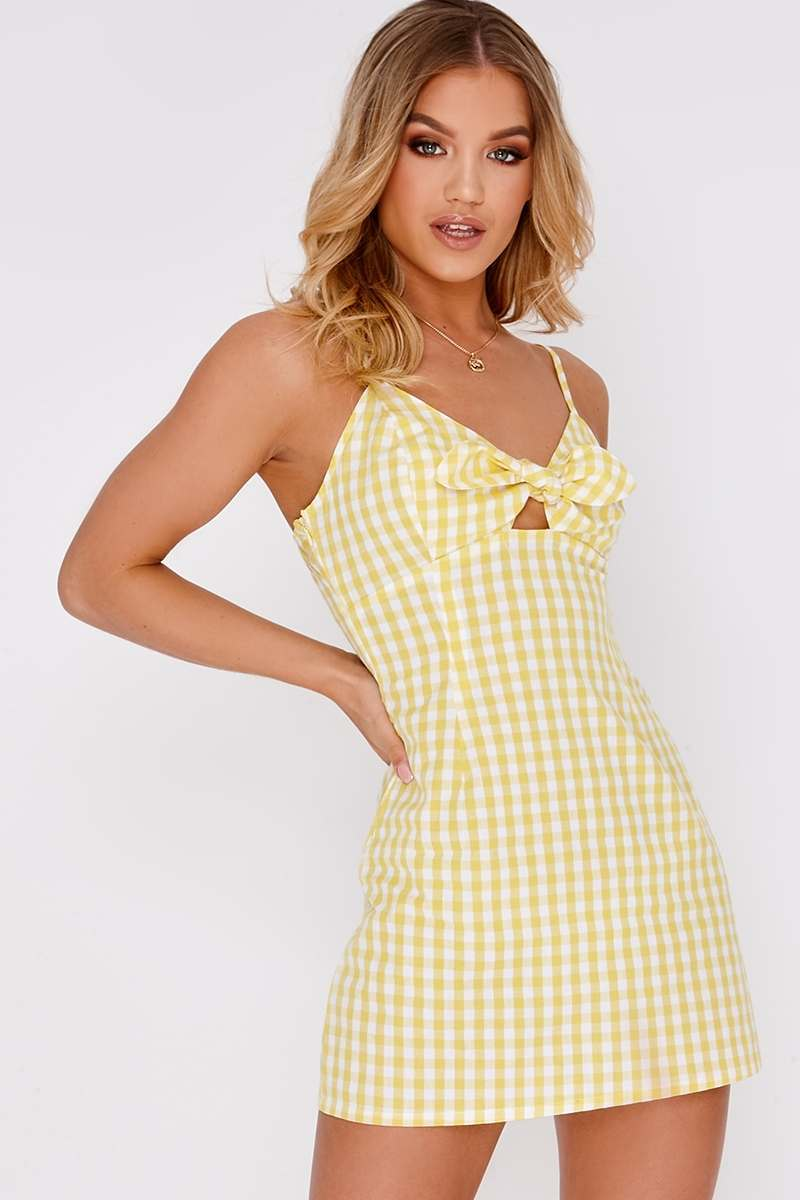 yellow gingham tie front mini dress