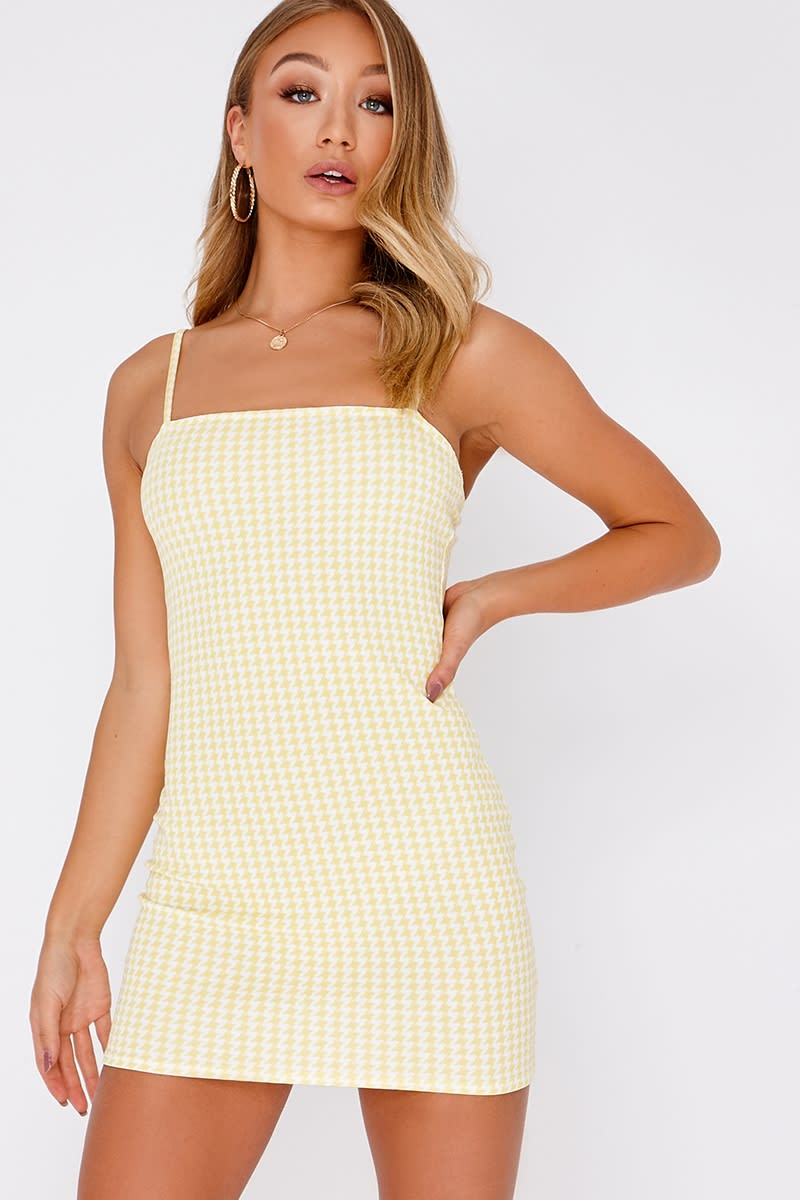 BASIC YELLOW GINGHAM SQUARE NECK BODYCON DRESS