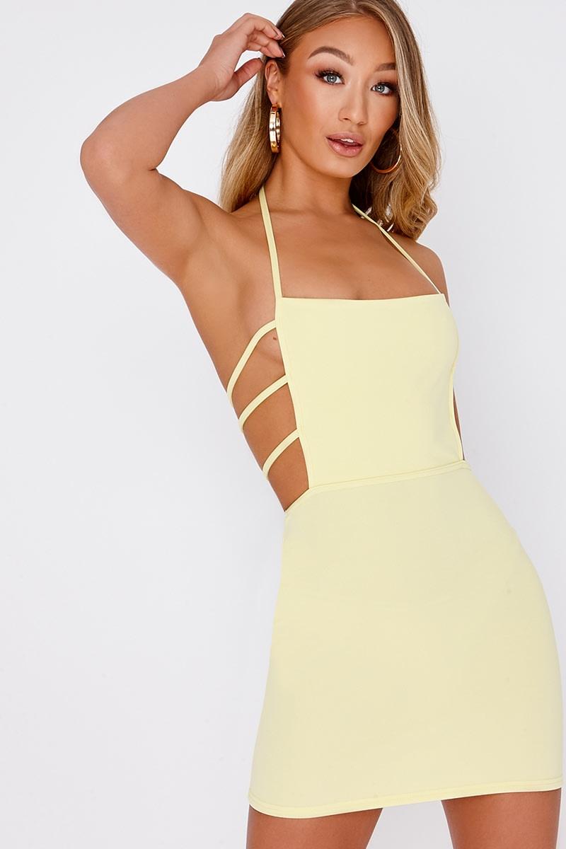 lemon strap detail backless bodycon dress