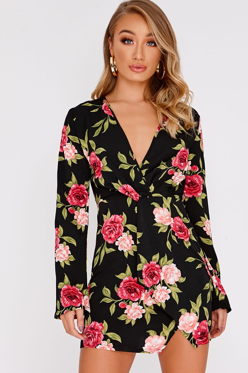 black floral plunge wrap dress