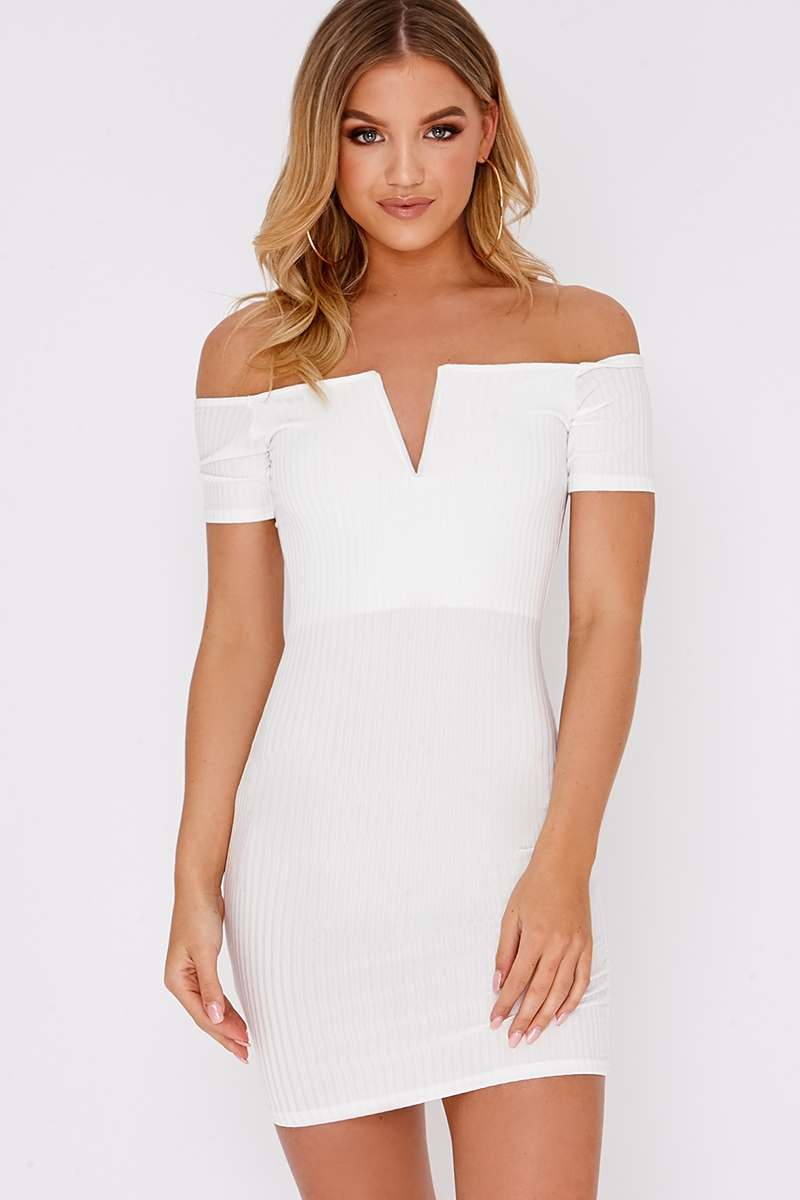 cream plunge ribbed bardot mini dress