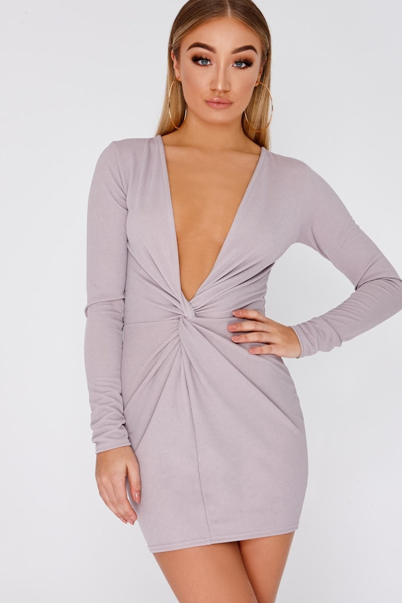 lilac twist front plunge mini dress