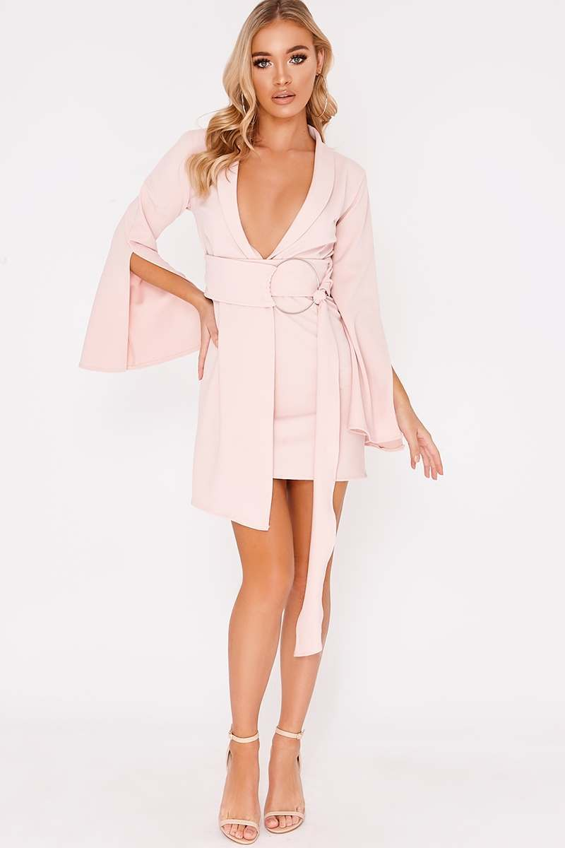 BINKY NUDE PLUNGE WRAP BLAZER DRESS