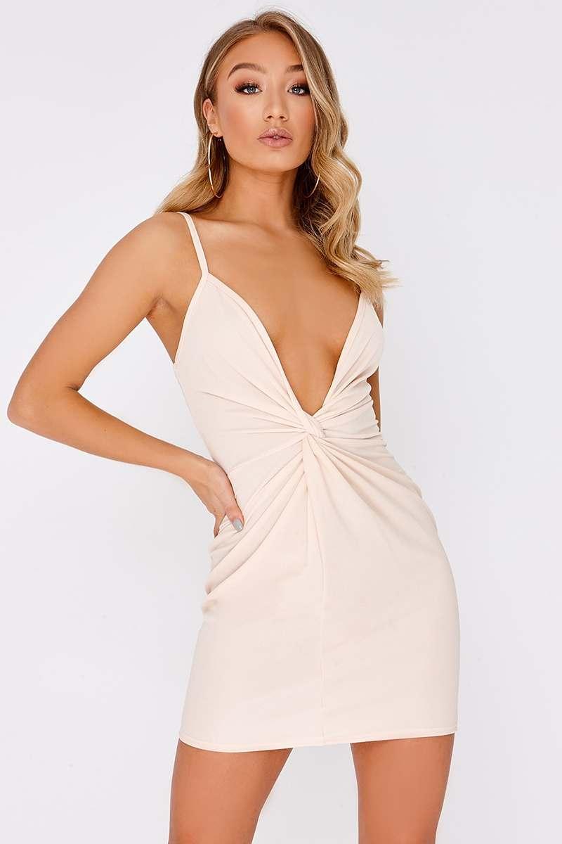 nude twist front plunge mini dress