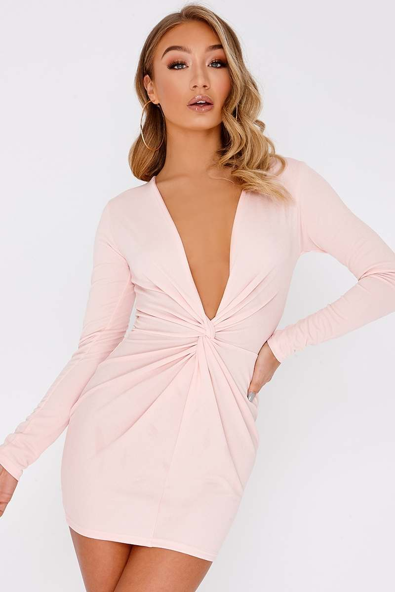 nude twist front plunge mini dress