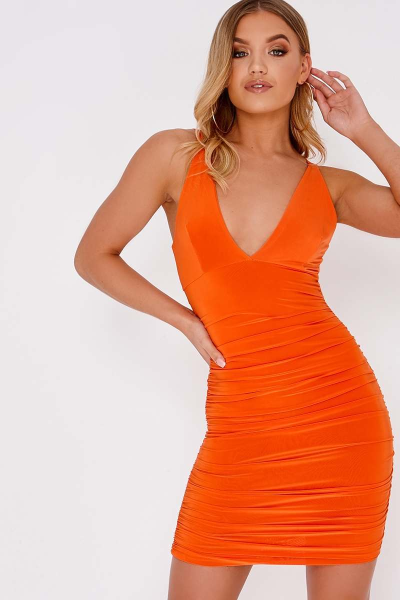 orange plunge ruched dress
