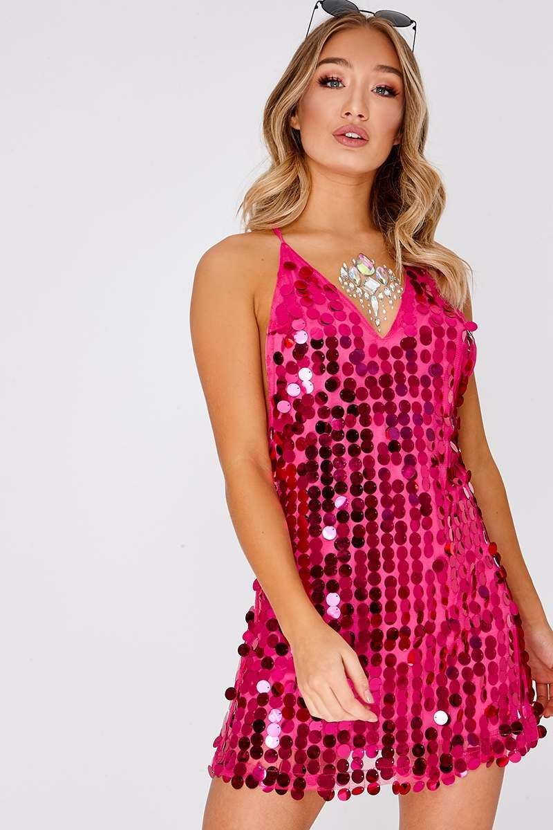 GIORGIA HOT PINK IRIDESCENT SEQUIN PLUNGE DRESS