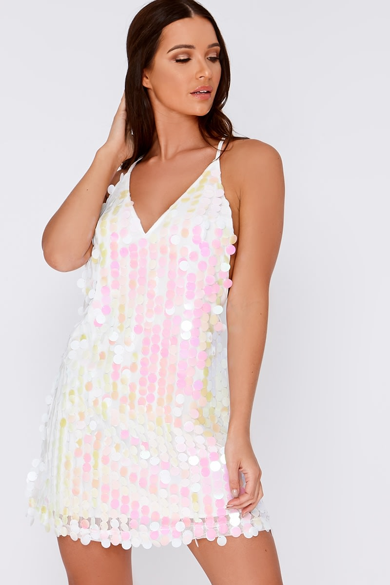 white iridescent sequin plunge dress