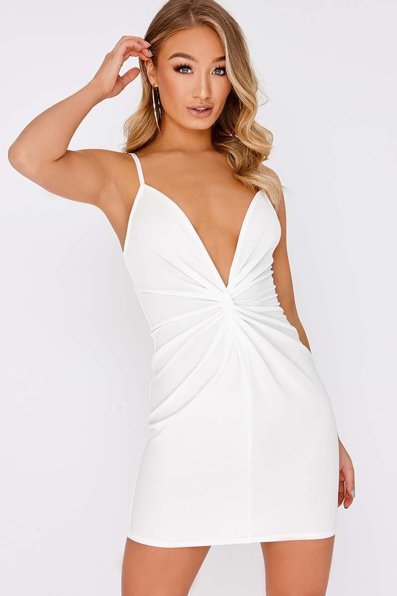white twist front plunge mini dress
