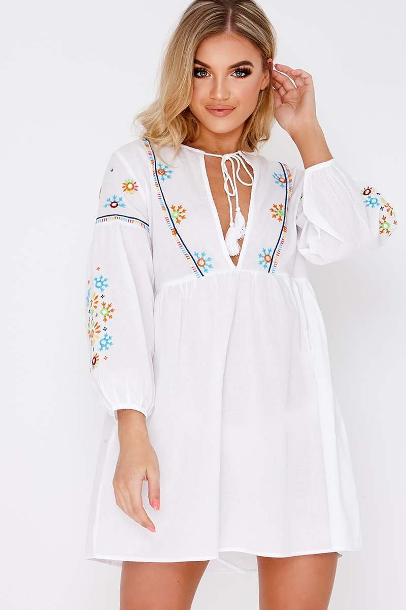 gold white embroidered plunge tie neck dress