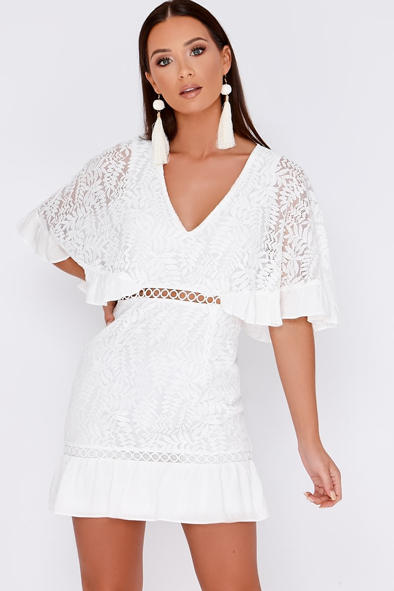 AVARI WHITE CROCHET LACE KIMONO SLEEVE MINI DRESS